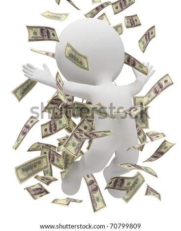 3d small people bathing in a heap of money. 3d image. Isolated white background.
