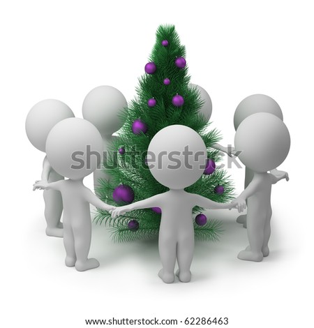 3d small people dancing round a New Year's fur-tree. 3d image. Isolated white background.
