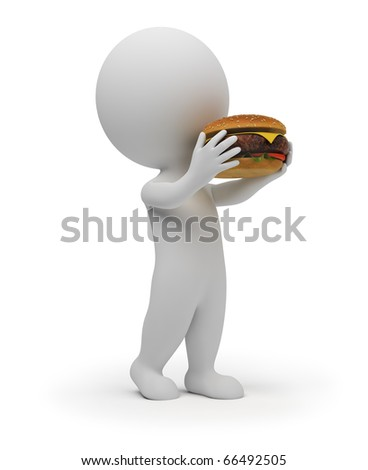 3d small people eats the big hamburger. 3d image. Isolated white background.