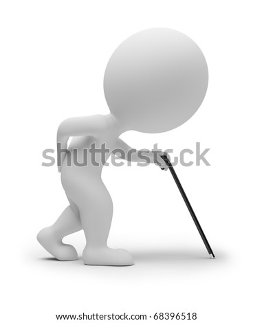 3d small people - elderly person with a stick. 3d image. Isolated white background. - stock photo