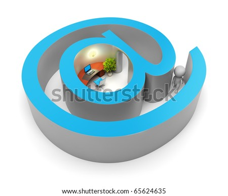 3d small people entering into the Internet. 3d image. Isolated white background. Clipping path included.