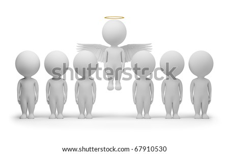 3d small people - flied up angel. 3d image. Isolated white background.