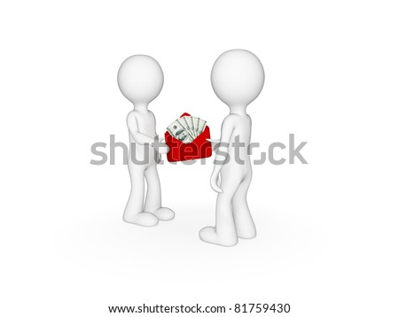 3d small people giving each other money. Isolated on white background.