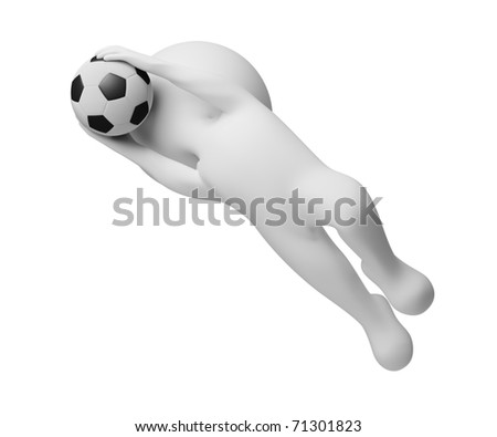 3d small people - goalkeeper a catching ball. 3d image. Isolated white background.