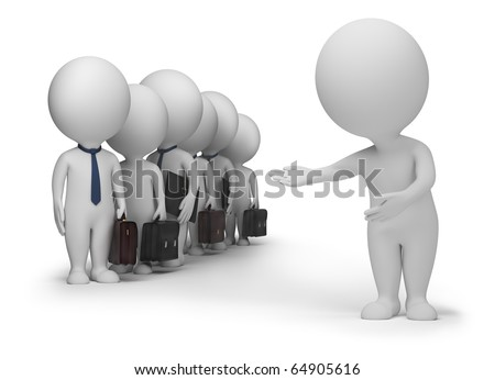 3d small people has resulted new clients. 3d image. Isolated white background. Clipping path included.