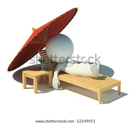 3d small people having a rest under an parasol on a chaise lounge. 3d image. Isolated white background.
