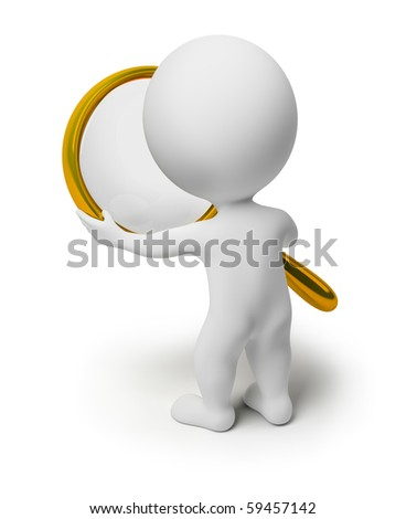 3d small people holds a magnifier. 3d image. Isolated white background.