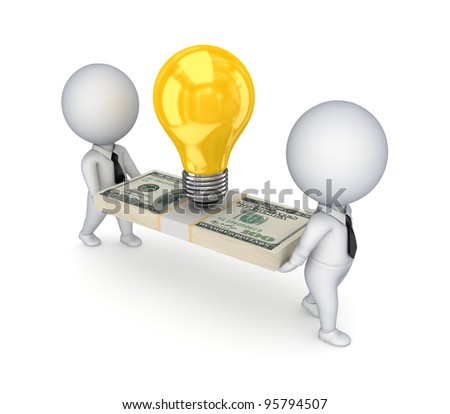 3d small people,idea symbol and dollar pack.Isolated on white background.