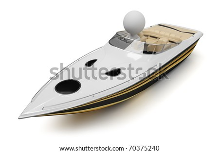 3d small people in a modern boat. 3d image. Isolated white background.