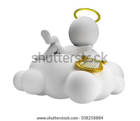 3d small people in paradise lies in a cloud with a harp. 3d image. Isolated white background.