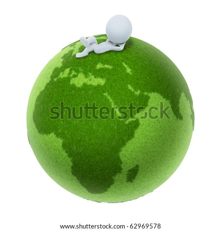 3d small people lying on a green planet. 3d image. Isolated white background.