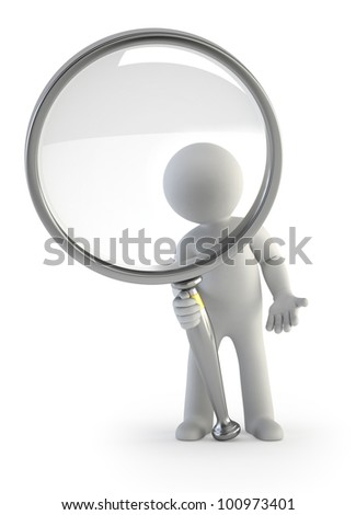 3d small people - magnifying glass