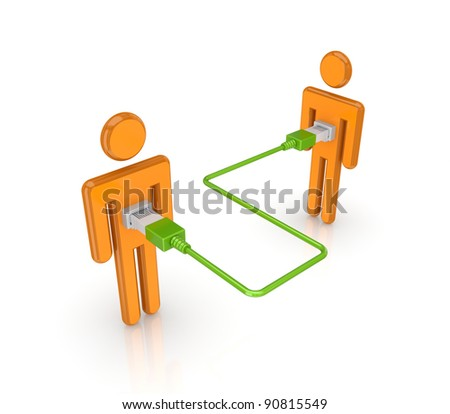 3d small people merged with a green patchcord.Isolated on white background.