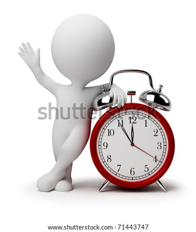 3d small people near to an alarm clock. 3d image. Isolated white background.