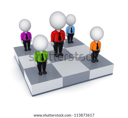 3d small people on a chessboard.Isolated on white background.