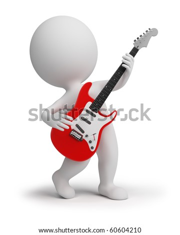 3d small people playing an electroguitar. 3d image. Isolated white background. - stock photo