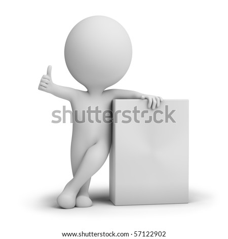 3d small people promoting an product box. 3d image. Isolated white background.
