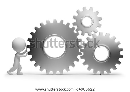 3d small people rolls gears. 3d image. Isolated white background. Clipping path included.