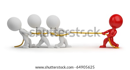 3d small people - rope pulling. 3d image. Isolated white background. Clipping path included.