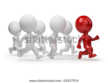 3d small people running for the leader. 3d image. Isolated white background. stock photo