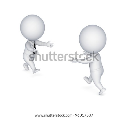 3d small people running to each other.Isolated on white background.