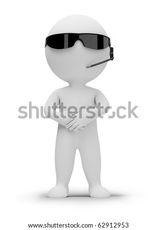 3d small people - security guard in dark glasses. 3d image. Isolated white background.