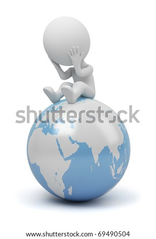 3d small people sitting on Earth in a thoughtful pose. 3d image. Isolated white background.
