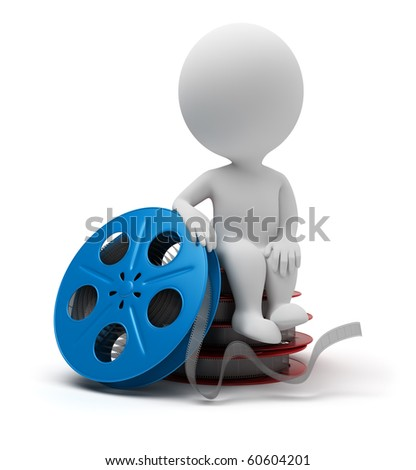 3d small people sitting on film reel. 3d image. Isolated white background.