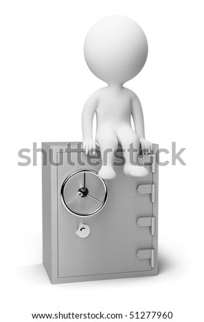 3d small people sitting on the safe. 3d image. Isolated white background.