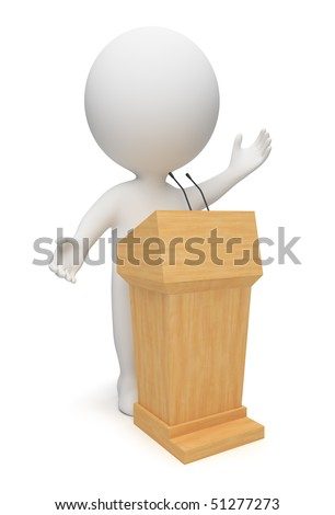 3d small people speaking from a tribune. 3d image. Isolated white background.