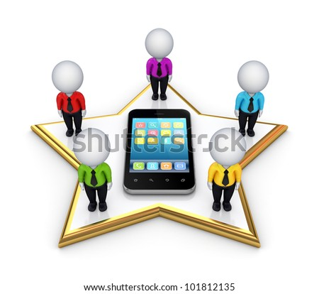 3d small people standing on a star and modern mobile phone.Isolated on white background.