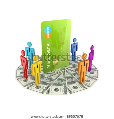 3d small people standing on dollars around large credit card.Isolated on white background.