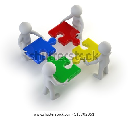 3d small people - team with the puzzles in hands