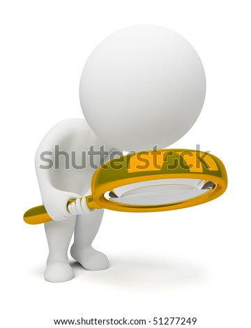 3d small people with a lupe. 3d image. Isolated white background.