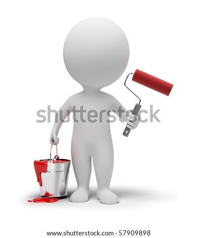 3d small people with a paint and a roller. 3d image. Isolated white background.