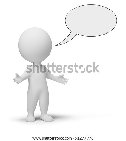 3d small people with empty chat bubble. 3d image. Isolated white background.