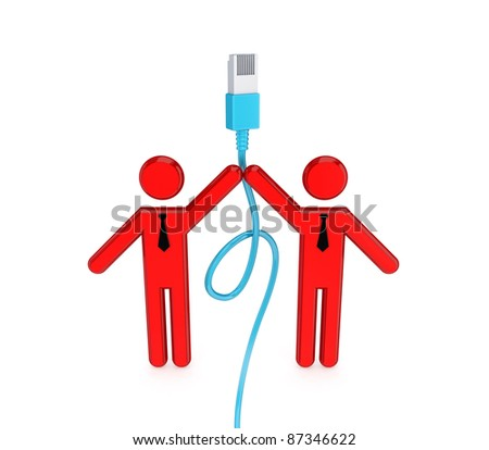 3d small people with patchcord. 3D rendered. Isolated on white.