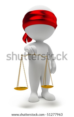 3d small people with scales. A justice symbol. 3d image. Isolated white background. - stock photo