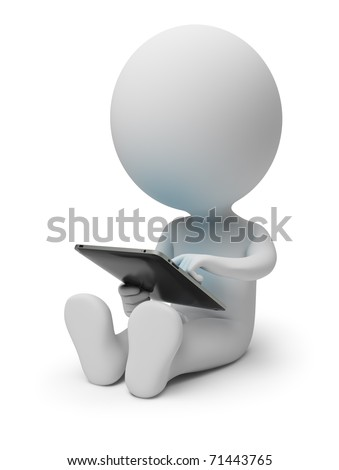 3d small people with tablet pc. 3d image. Isolated white background.