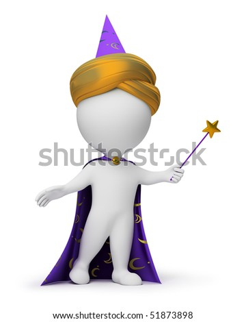 3d small people - wizard with a magic wand in a hand. 3d image. Isolated white background.