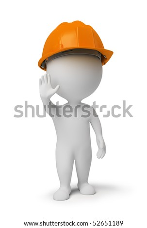 3d small people - worker in a helmet at a stop pose. 3d image. Isolated white background. - stock photo