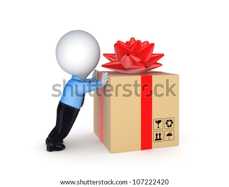 3d small person and big carton box with decorated with a red ribbon.
