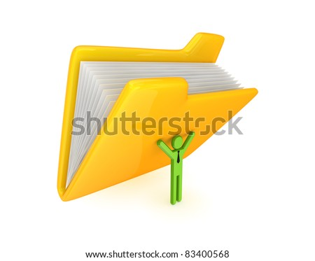 3d small person and big yellow folder. Isolated on white background.