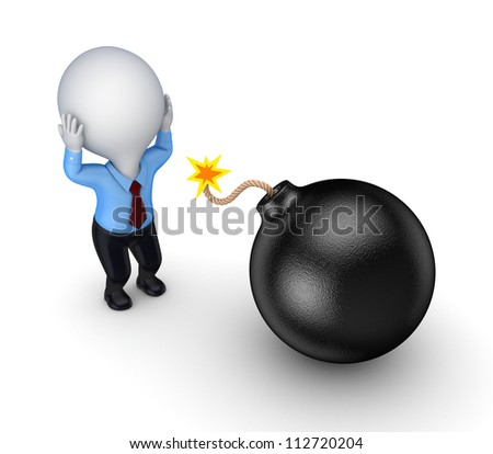 3d small person and black bomb.Isolated on white background.