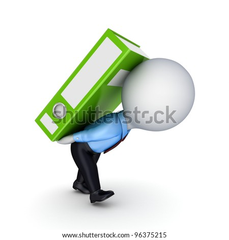 3d small person and colorful folders.Isolated on white background.