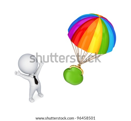 3d small person and colorful parachute.Isolated on white background.