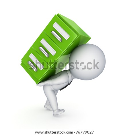 3d small person and green bookcase.Isolated on white background.