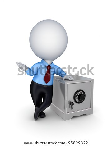 3d small person and iron safe.Isolated on white background.