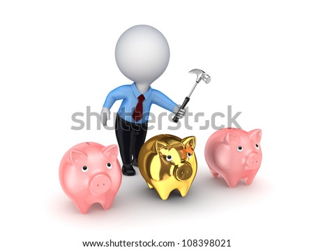 3d small person and pink piggy banks.Isolated on white background.3d rendered.