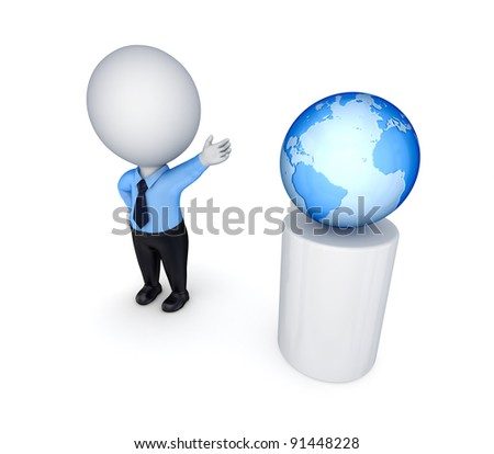 3d small person and planet earth.Isolated on white background.
